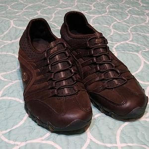 Skechers Brown Leather Slip On Athletic Shoes 7.5